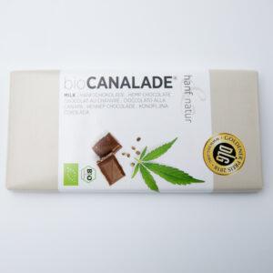 Chocolat au lait CANALADE aux graines de chanvre 100Gr en vente dans cbd shop ohsogreen. Bon au goût noisette. CBD shop, magasin cbd, niederbronn, wissembourg, beinheim, haguenau